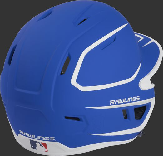 Back right of a two-tone matte royal/white MACH Rawlings senior size batting helmet