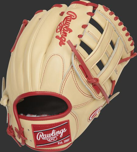 Camel back of a Pro Preferred Xander Bogaerts infield glove with a red Rawlings patch - SKU: RSGPROSDJ2-6XB