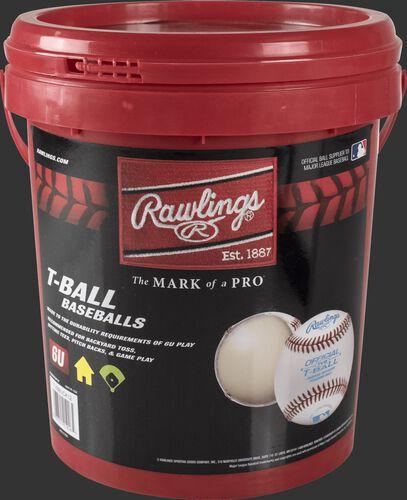 TVBBUCK12 Red bucket of 12 youth t-ball baseballs