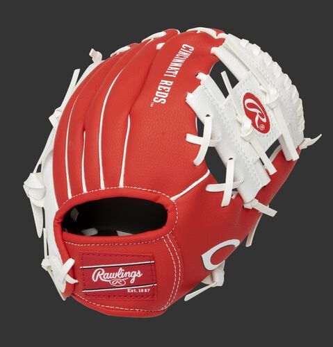 Back of a red/white Cincinnati Reds 10-Inch I-web glove with a red Rawlings patch - SKU: 22000023111