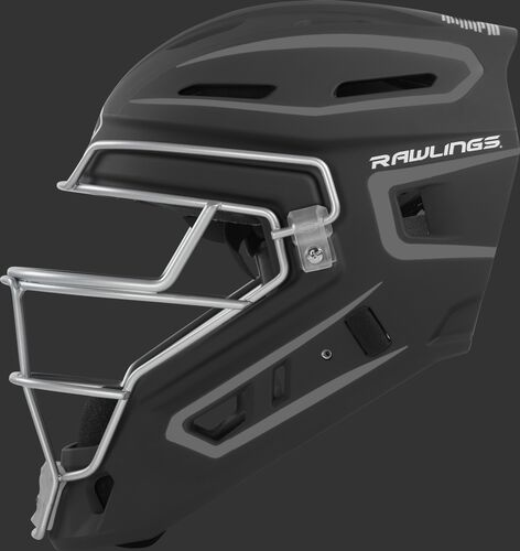 Left side of a black CHV27J Rawlings hockey style Velo 2.0 catcher's helmet