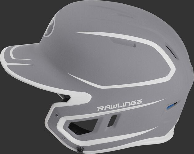 MACH Junior Rawlings batting helmet with a two-tone matte silver/white shell