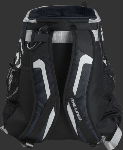 Back of black R500 Players team backpack with black shoulder straps