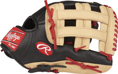 GXLE3029-6BCS 12.75-inch Gamer XLE outfield glove with a black thumb, camel trim and a camel H web