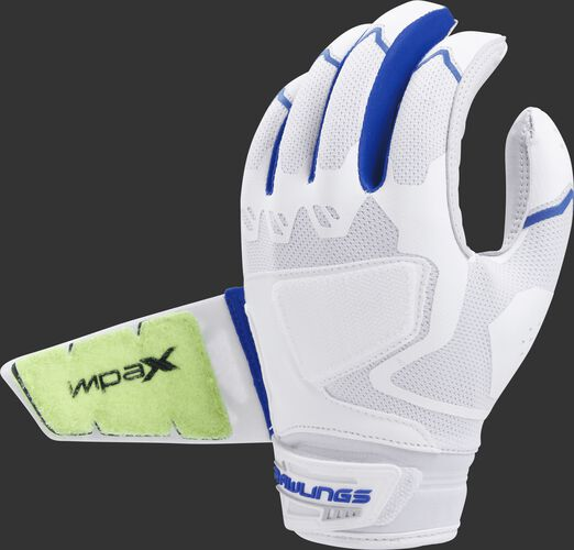 Back of a white/royal FPWPBG-R Workhorse batting glove with the Impax pad