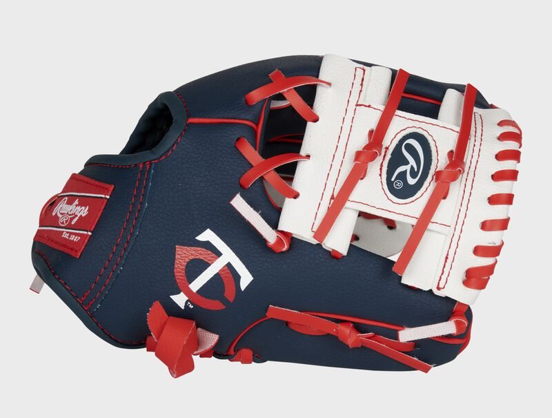 Thumb of a navy, white & red Minnesota Twins 10-inch glove with a white I-web and Twins logo on the thumb - SKU: 22000028111