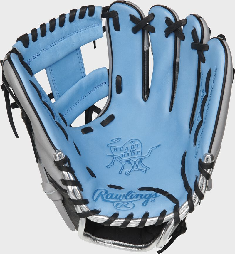 PRO204-2CBH Rawlings ColorSync 4.0 infield glove with a columbia blue palm and black laces