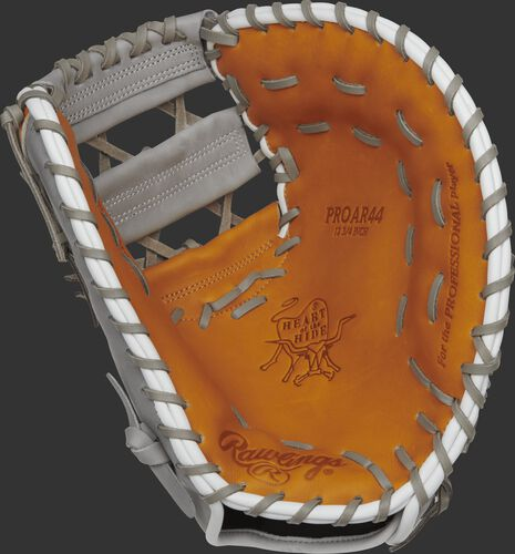 PROAR44 Anthony Rizzo pattern Heart of the Hide first base mitt with a tan palm and grey laces