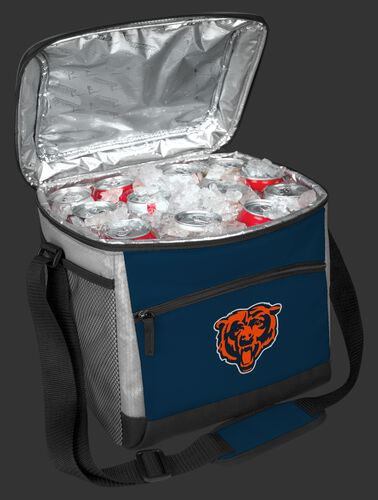 An open Chicago Bears 24 can cooler filled with ice and drinks - SKU: 10211062111