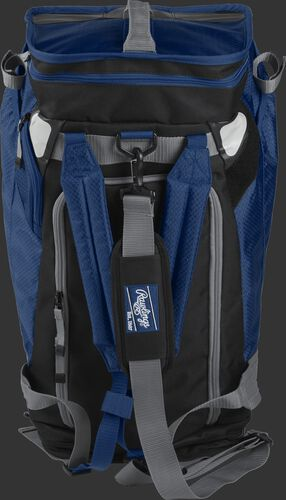 Front of a navy R601 Rawlings Hybrid backpack/duffel bag with a gray strap and navy arm straps