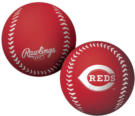 A red Cincinnati Reds Big Fly rubber bounce ball
