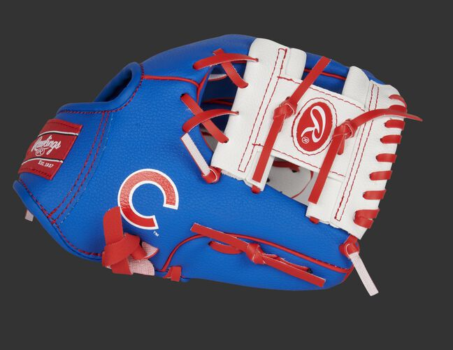 Thumb of a blue/white Chicago Cubs 10-Inch team logo glove with a white I-web and Cubs logo on the thumb - SKU: 22000008111