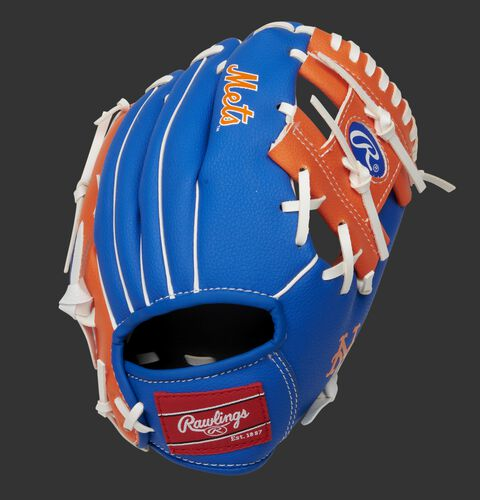 Back of a blue/orange New York Mets 10-Inch I-web glove with a red Rawlings patch - SKU: 22000017111