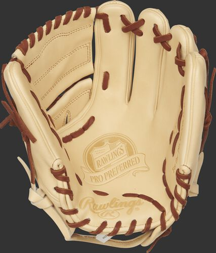 PROS205-9CC Rawlings 11.75-inch baseball glove with a camel palm and dark tan laces