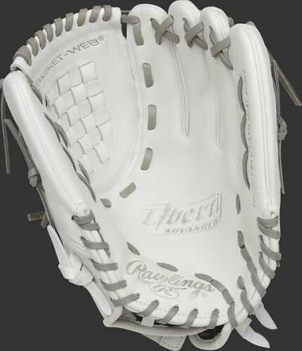 RLA120-3WG Rawlings 12-inch softball infield/pitcher's glove with a white palm and grey laces