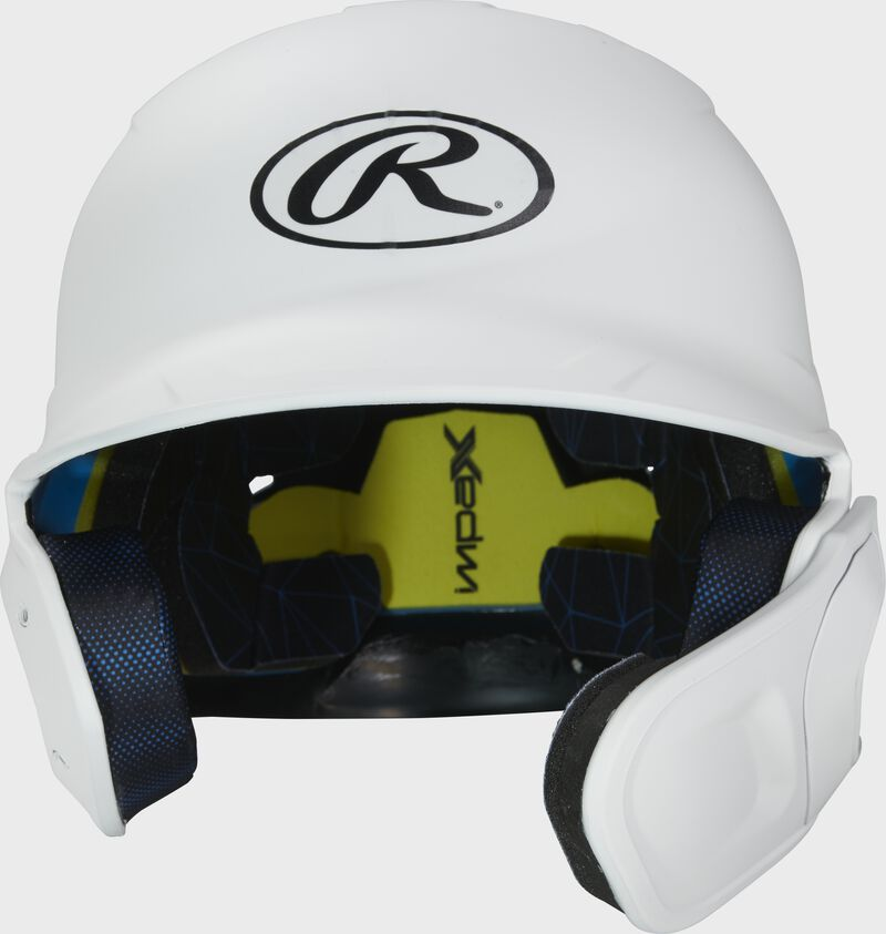 Front of a matte white MACHEXTR high school/college Mach batting helmet with face guard extension for right hand batters