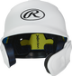 Front of a matte white MACHEXTR high school/college Mach batting helmet with face guard extension for right hand batters image number null