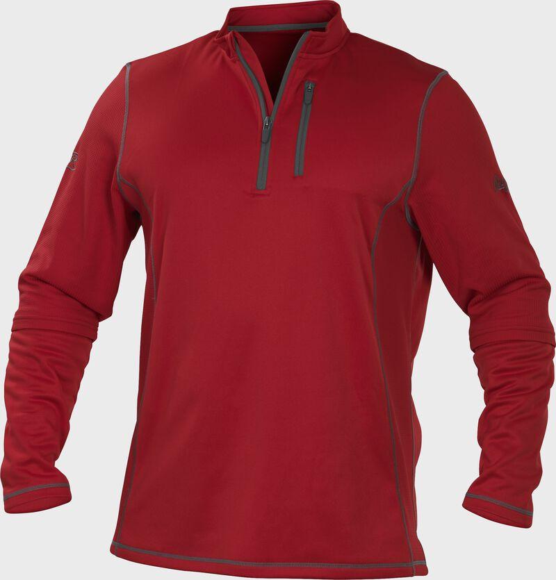 TECH2 Scarlet Rawlings quarter-zip fleece pullover with graphite chest pocket zipper