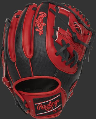 PRO315-2SSS Heart of the Hide Speed Shell infield glove with a black back and scarlet fingers
