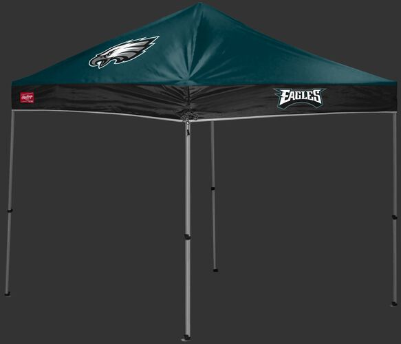 A green/black Philadelphia Eagles 9x9 shelter with a team logo on the left side - SKU: 03231080112