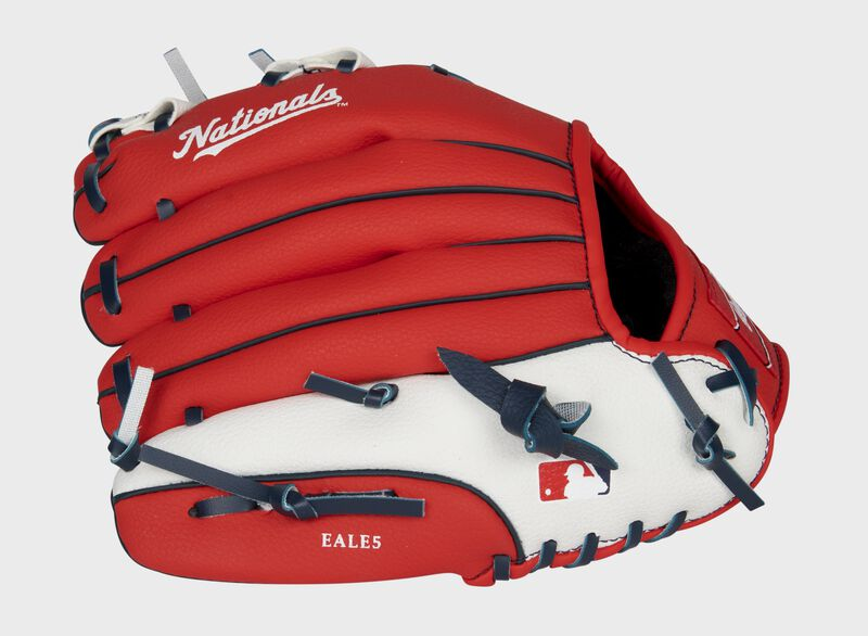 Back of a red/white Washington Nationals 10-inch youth glove with the MLB logo on the pinky - SKU: 22000031111