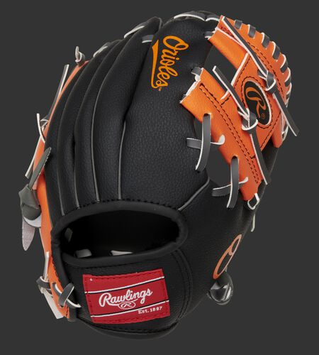 Back of a black/orange Baltimore Orioles 10-Inch I-web glove with a red Rawlings patch - SKU: 22000018111