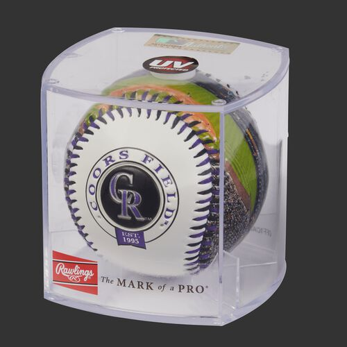 MLB Colorado Rockies stadium baseball in a display case