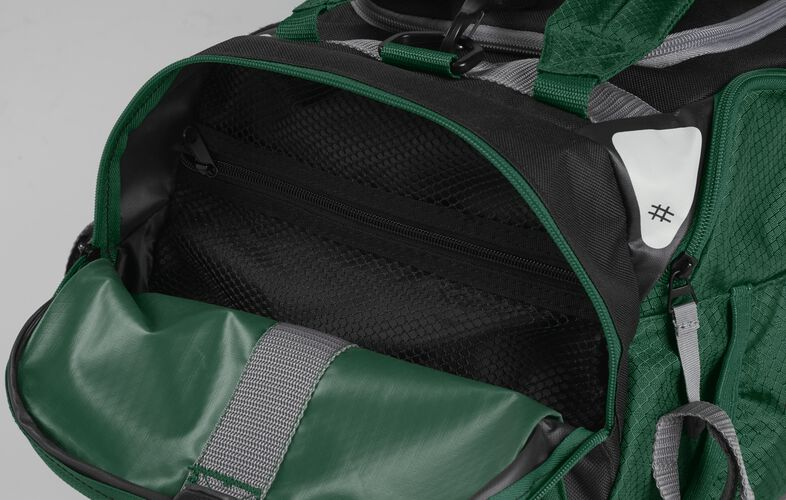 Side pocket of a dark green R601 hybrid backpack/duffel bag with a mesh compartment