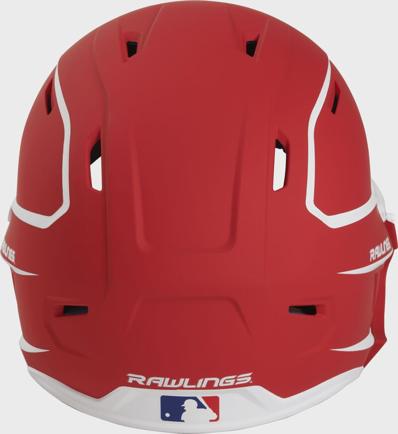 Back of a MACHEXTR high performance junior MACH helmet with a matte scarlet/white shell and Official Batting Helmet of MLB logo