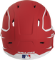 Back of a MACHEXTR high performance junior MACH helmet with a matte scarlet/white shell and Official Batting Helmet of MLB logo image number null