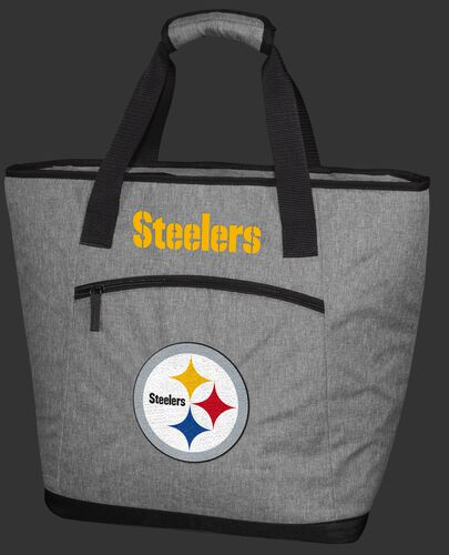 A gray Pittsburgh Steelers 30 can tote cooler with a team logo embroidered on the front - SKU: 10311082111