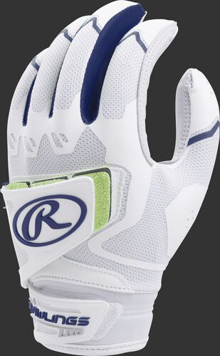 A white FPWPBG-N women's Workhorse batting glove with navy trim and pad over the back of the palm