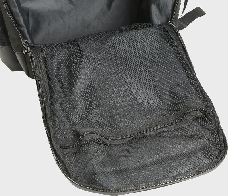 The opened main compartment of a Rawlings black coach's backpack - SKU: CEOBP-B