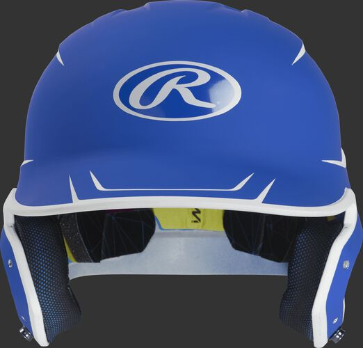 Front of a matte royal/white MACH senior size batting helmet