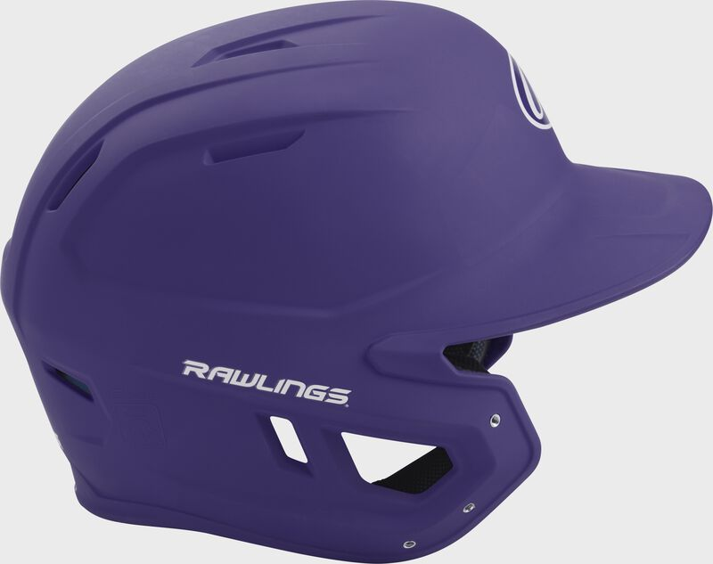Right side of a matte purple MACH helmet