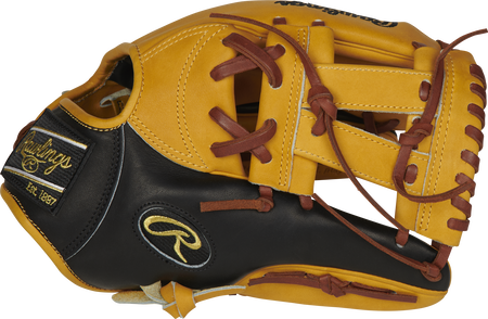Thumb of a butterscotch/black PRONP5-7BU Heart of the Hide 11.75-Inch infield glove with a butterscotch V-web