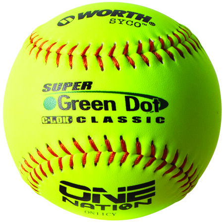 One Nation 11 in Green Dot Softballs (ON11CY)