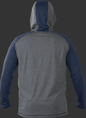 Back of Rawlings Navy/Gray Adult Hurler Lightweight Hoodie - SKU #HLWH-GR/B-88