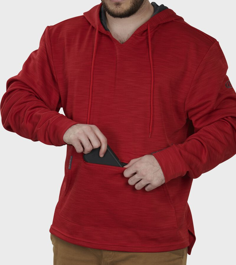 Valuable/phone pocket of a scarlet PFH2 fleece pullover hoodie
