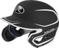 Left angle view of a MACHEXTR Rawlings Mach EXT Junior helmet with a two-tone matte black/white shell image number null