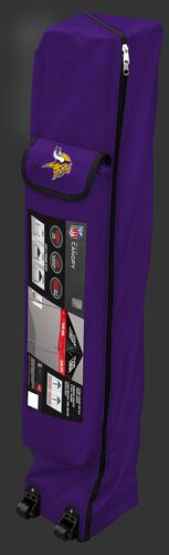 Purple wheeled carry case of a Minnesota Vikings canopy with the team logo on the outside compartment - SKU: 02231075111