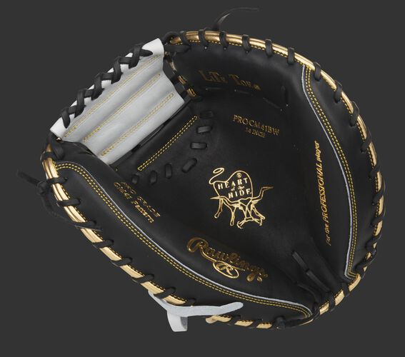 Black palm of an exclusive HOH catcher's mitt with gold stamping, white web and black laces - SKU: PROCM41BW