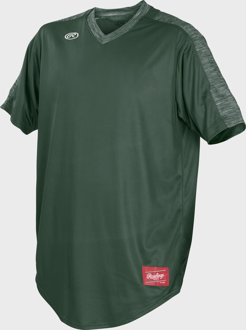 Front of Rawlings Dark Green Adult Short Sleeve Launch Jersey  - SKU #LNCHJ-DG