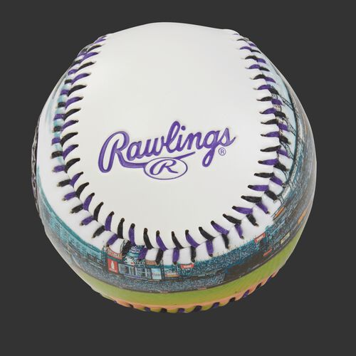 Rawlings logo on a Colorado Rockies team stadium ball