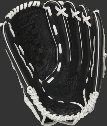 RSO130BW Rawlings Shut Out softball glove with a black palm and white laces