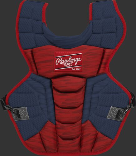 A scarlet/navy CPV2N Rawlings Velo 2.0 intermediate chest protector with a striped pattern