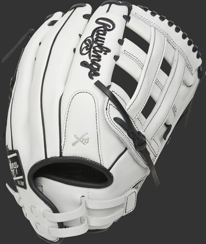 White back of a 13-Inch Liberty Advanced H-web outfield glove with a Pull Strap back - SKU: RLA130-6WB