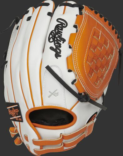 RLA120-3OB 12-inch Liberty Advanced infield/pitcher's Basket web glove with a white back and adjustable pull-strap