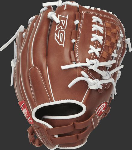 R9SB120FS-18DB 12-inch R9 Series fingershift softball glove with a brown back and Pull-Strap back design