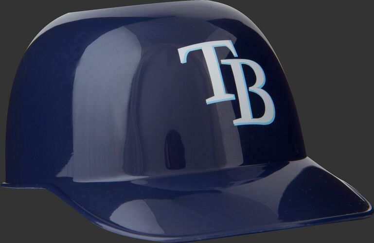 Front of Rawlings Navy Blue MLB Tampa Bay Rays Snack Size Helmets With Team Logo SKU #01950009121